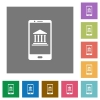 Mobile banking square flat icons - Mobile banking flat icons on simple color square backgrounds