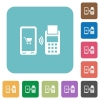 Mobile payment rounded square flat icons - Mobile payment white flat icons on color rounded square backgrounds