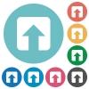 Upload flat round icons - Upload flat white icons on round color backgrounds