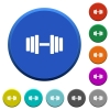 Gym round color beveled buttons with smooth surfaces and flat white icons - Gym beveled buttons