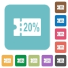 20 percent discount coupon rounded square flat icons - 20 percent discount coupon white flat icons on color rounded square backgrounds