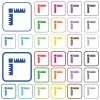 Page rulers outlined flat color icons - Page rulers color flat icons in rounded square frames. Thin and thick versions included.