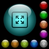 Enlarge object icons in color illuminated glass buttons - Enlarge object icons in color illuminated spherical glass buttons on black background. Can be used to black or dark templates