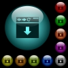 Browser scroll down icons in color illuminated glass buttons - Browser scroll down icons in color illuminated spherical glass buttons on black background. Can be used to black or dark templates