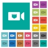 IP camera square flat multi colored icons - IP camera multi colored flat icons on plain square backgrounds. Included white and darker icon variations for hover or active effects.