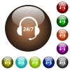 24 hour call center color glass buttons - 24 hour call center white icons on round color glass buttons