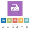 JPG file format flat white icons in square backgrounds - JPG file format flat white icons in square backgrounds. 6 bonus icons included.