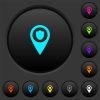 Police station GPS map location dark push buttons with color icons - Police station GPS map location dark push buttons with vivid color icons on dark grey background