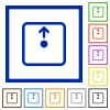 Move object up flat color icons in square frames on white background - Move object up flat framed icons