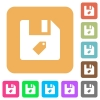 Tag file flat icons on rounded square vivid color backgrounds. - Tag file rounded square flat icons