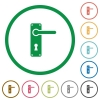 Right handed door handle with screws flat icons with outlines - Right handed door handle with screws flat color icons in round outlines on white background