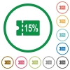 15 percent discount coupon flat icons with outlines - 15 percent discount coupon flat color icons in round outlines on white background