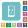 Mobile hotspot rounded square flat icons - Mobile hotspot white flat icons on color rounded square backgrounds