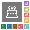 Birthday cake square flat icons - Birthday cake flat icons on simple color square backgrounds