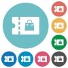 Bag discount coupon flat round icons - Bag discount coupon flat white icons on round color backgrounds