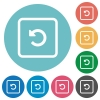 Rotate object left flat round icons - Rotate object left flat white icons on round color backgrounds