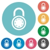 Locked round combination lock flat round icons - Locked round combination lock flat white icons on round color backgrounds