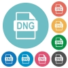 DNG file format flat round icons - DNG file format flat white icons on round color backgrounds