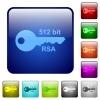 512 bit rsa encryption color square buttons - 512 bit rsa encryption icons in rounded square color glossy button set