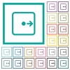 Move object right flat color icons with quadrant frames - Move object right flat color icons with quadrant frames on white background