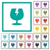 Fragile symbol flat color icons with quadrant frames - Fragile symbol flat color icons with quadrant frames on white background