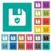 Protected file square flat multi colored icons - Protected file multi colored flat icons on plain square backgrounds. Included white and darker icon variations for hover or active effects.