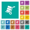 Hand truck with boxes square flat multi colored icons - Hand truck with boxes multi colored flat icons on plain square backgrounds. Included white and darker icon variations for hover or active effects.