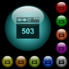 Browser 503 Service Unavailable icons in color illuminated glass buttons - Browser 503 Service Unavailable icons in color illuminated spherical glass buttons on black background. Can be used to black or dark templates
