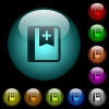 Bookmark icons in color illuminated glass buttons - Bookmark icons in color illuminated spherical glass buttons on black background. Can be used to black or dark templates