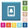 Mobile alarm white icons on edged square buttons - Mobile alarm white icons on edged square buttons in various trendy colors