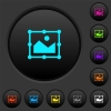 Image free transform dark push buttons with color icons - Image free transform dark push buttons with vivid color icons on dark grey background