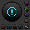 Octagon shaped error sign dark push buttons with color icons - Octagon shaped error sign dark push buttons with vivid color icons on dark grey background