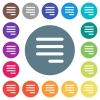 Text align justify last row right flat white icons on round color backgrounds - Text align justify last row right flat white icons on round color backgrounds. 17 background color variations are included.