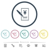 Signing Yen cheque flat color icons in round outlines - Signing Yen cheque flat color icons in round outlines. 6 bonus icons included.