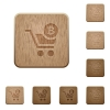 Checkout with Bitcoin cart on rounded square carved wooden button styles - Checkout with Bitcoin cart wooden buttons