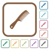 Comb with handle simple icons in color rounded square frames on white background - Comb with handle simple icons