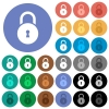 Locked round padlock with keyhole round flat multi colored icons - Locked round padlock with keyhole multi colored flat icons on round backgrounds. Included white, light and dark icon variations for hover and active status effects, and bonus shades.