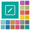 Paint object square flat multi colored icons - Paint object multi colored flat icons on plain square backgrounds. Included white and darker icon variations for hover or active effects.