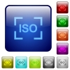 Camera iso speed setting color square buttons - Camera iso speed setting icons in rounded square color glossy button set