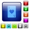 Five of hearts card color square buttons - Five of hearts card icons in rounded square color glossy button set