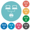 Network printing flat white icons on round color backgrounds - Network printing flat round icons