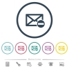 Remove mail flat color icons in round outlines. 6 bonus icons included. - Remove mail flat color icons in round outlines
