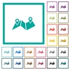 Route plan flat color icons with quadrant frames - Route plan flat color icons with quadrant frames on white background
