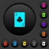Two of clubs card dark push buttons with color icons - Two of clubs card dark push buttons with vivid color icons on dark grey background