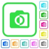 Monochrome photos vivid colored flat icons - Monochrome photos vivid colored flat icons in curved borders on white background