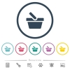 Shopping basket flat color icons in round outlines. 6 bonus icons included. - Shopping basket flat color icons in round outlines