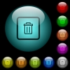 Delete object icons in color illuminated spherical glass buttons on black background. Can be used to black or dark templates - Delete object icons in color illuminated glass buttons