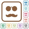 Glasses and mustache simple icons - Glasses and mustache simple icons in color rounded square frames on white background
