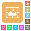 Image free transform rounded square flat icons - Image free transform flat icons on rounded square vivid color backgrounds.
