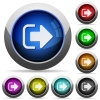 Sign out round glossy buttons - Sign out icons in round glossy buttons with steel frames